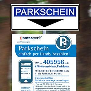 Auf diesen Tafeln wird das Handyparken in der Straße erklärt.