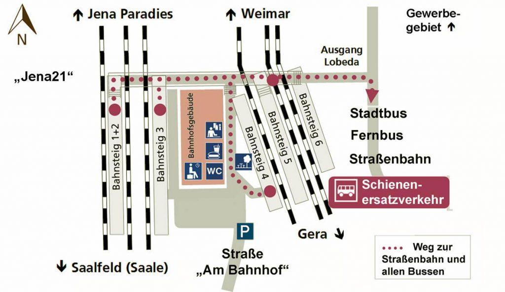 Die Karte zeigt die Lage der Bahnsteige und die Serviceienrichtungen in Jena-Göschwitz.