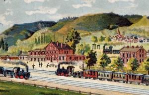 Eisenbahn-Idylle um 1880.
